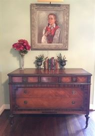 1920's dresser and an original painted portrait