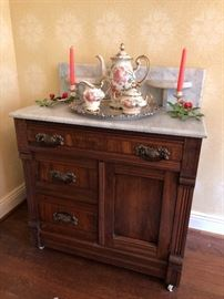 Antique Victorian marble top washstand of the Eastlake period, circa 1880