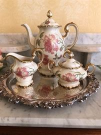 Rosenthal China set in Rigoletto pattern with Pompadour Gold trim coffee pot with cream & sugar