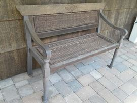Perfectly weathered porch bench