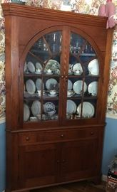 Poplar with Old Cherry Finish, Corner Cabinet w/Original Glass c1800s,  Available for Pre-Sale $1,200 (email cindy@thetimefinders.net for appt )