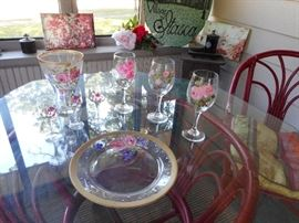 Hand Painted Stemware, Vases, Plate