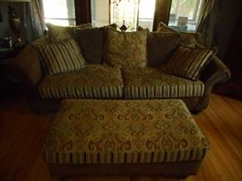 Hippie Chic, Bohemian Chic..Style, Cocoa Brown Silk Brocade Super Comfy..Sofa, Matching Ottoman