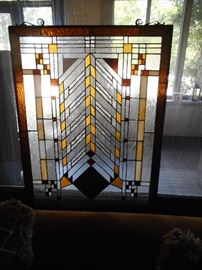 Frank LLoyd Wright Style Stained Glass, Has Chips. It is newer