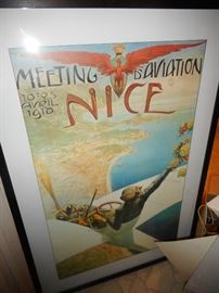 French Framed Poster. Large! Vibrant Colors. Meeting Aviation!