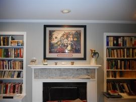 Living Room. Bookcases ,Filled. Mantel, Limoge!