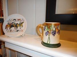 Limoge Hand Painted Tankard Mug.