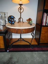 High End LaBarge Occasional Table, Marble Top. Hand Forged Iron Frame, with Drawer. Pair