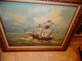 Original Oil Ship on Roaring Seas, Signed, Framed