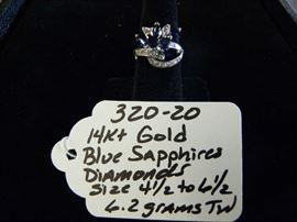 14kt Gold, Sapphire & Diamonds Ring