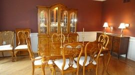 Thomasville dining room set, matching Chiba cabinet with table and chairs