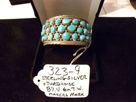 Sterling Silver Turquoise Bracelet w/Makers Mark