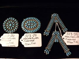 Sterling Silver & Turquoise Pins