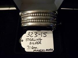 Sterling Silver Native American Bracelet w/ Makers Mark