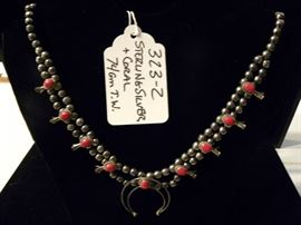 Sterling Silver & Coral Squash Blossom Necklace