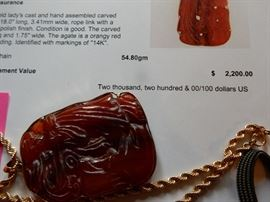 "14K yellow gold, carved red agate pendant and 18"" chain  Buy it Now. $1,100.00"