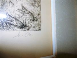 MARC CHAGALL BIBLE ETCHING. SIGNED AND NUMBERED.References Cramer 30, Verve N.101. Etching with watercolor tinting.  Edition 46/100. To purchase please contact Jeanette at 224.578.1846  BUY IT NOW $6,000.00