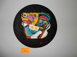 """KAREL APPEL, """"FLOATING FAMILY""""  24 INCHES IN DIAMETER. Karel Appel, Handpainted Stone Sculpture, """"Floating Family"""". Known edition of 99. Signed and dated lower right Appel '76.  Please contact Jeanette 224.578.1846 BUY IT NOW $9,000.00"""