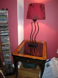 Glass top side table with lamp