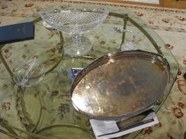 silver plate tray, great glass and brass coffee table, and rug