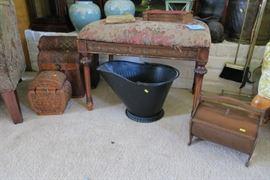 Vintage coal bucket and vintage sewing box