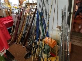 Ton's of Fishing poles, reels and tackle boxes.....