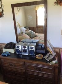 Vintage night stand and matching dresser with mirror