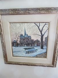 LIMITED EDITION SERIGRAPH  LIUDMILA KNDAKOVA NOTRE DAME IN WINTER