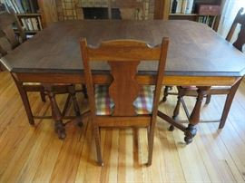 BLACK WALNUT DINING TABLE & 6 CHAIRS AMERICAN BLACK WALNUT