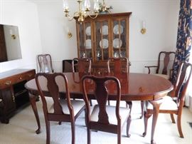 Queen  Anne  dining  room table set,Ethan  Allen  china  cabinet