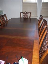 Dining Table with 2 Extensions and 8 Chairs