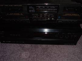 JVC cassette recorder/player & on bottom ONKYO 6 disc CD changer
