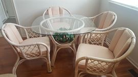 "$120   Round glass table with four chairs   measures 39"" round"