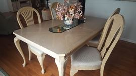 $225  Light wood table with 6 chairs and extra leaves