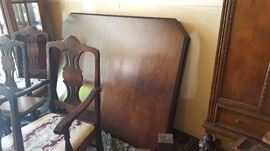$500  Walnut table and 6 chairs, part of 3 piece set