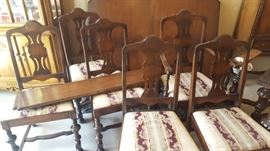 $500  Walnut table with 6 chairs, part of 3 piece set