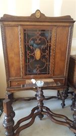 $500  Walnut china cabinet, part of 3 piece set