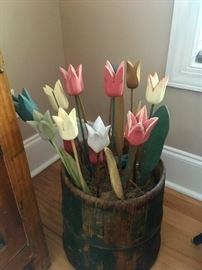Bucket of wood tulips