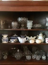 Large collection of antique pressed glass & porcelain