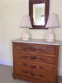 Antique marble top 4 drawer dresser