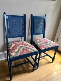 Pair of cane-back chairs (painted navy)