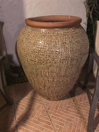 "Large very thick 38"" x 28"" 2-tone beige vase Can be used as a fountain!"