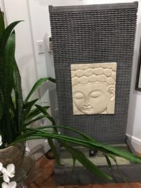 "Tall slate indoor/outdoor fountain w/Carved Buddha Face. Dimensions: 5' H x 31 1/2"" W x 17 3/4"" D"
