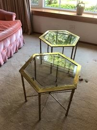 Pair of Mastercraft Hexagonal Side Tables