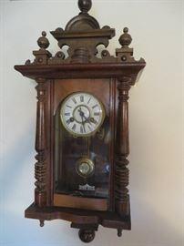 VINTAGE CARVED GERMAN WALL CLOCK   R A PENDULUM