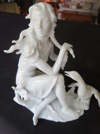 KAISER  Bisque Porcelain Goose with seated Girl  (Gerhard Bochmann)