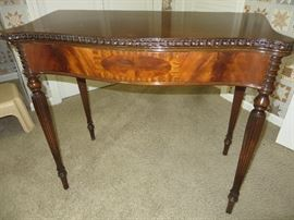 ANTIQUE FLIP TOP WALNUT GAME TABLE BOOK MATCHED VENEER      TURNED, TAPERED AND FLUTED LEGS