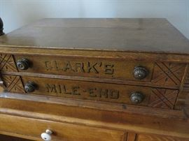 Antique Clark's Oak Wood 2 Drawer Sewing Spool Box /Chest