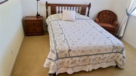 Vintage Bedroom Set - Full Bed, Chest & Night Stand