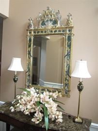 Enamed mirror, marble top entry table & lamps